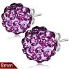 8mm – Světle růžová kulička s fialovými kamínky