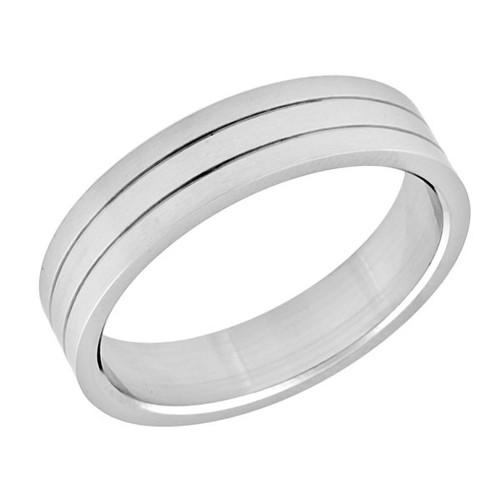 Ocelový prsten, dvě malé drážky
