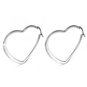 Ocelové náušnice ve tvaru srdce