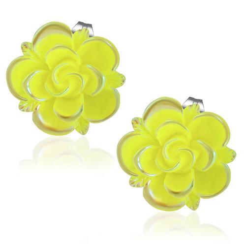 Žlutý květ s lístky - Ocelové náušnice