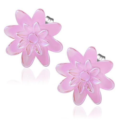 Růžová perleťová květina - Ocelové náušnice