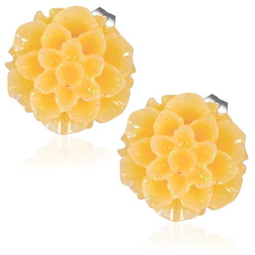 Oranžový květ - Ocelové náušnice