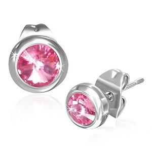 Ocelové náušnice s malými růžovými kameny